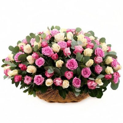 Траурная корзина из живых цветов №11