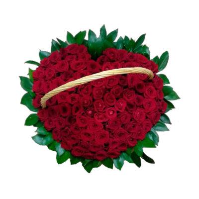 Траурная корзина из живых цветов №15